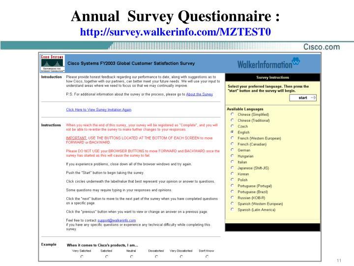 Annual  Survey Questionnaire :