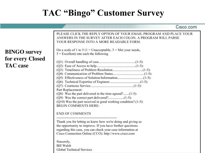 "TAC ""Bingo"" Customer Survey"