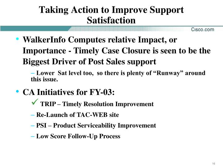 Taking Action to Improve Support Satisfaction