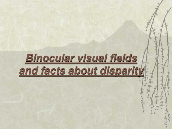 Binocular visual fields and facts about disparity