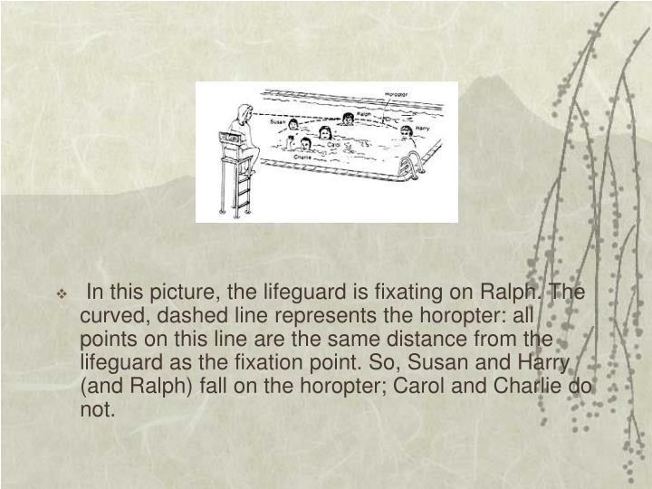 In this picture, the lifeguard is fixating on Ralph. The curved, dashed line represents the horopter: all points on this line are the same distance from the lifeguard as the fixation point. So, Susan and Harry (and Ralph) fall on the horopter; Carol and Charlie do not.