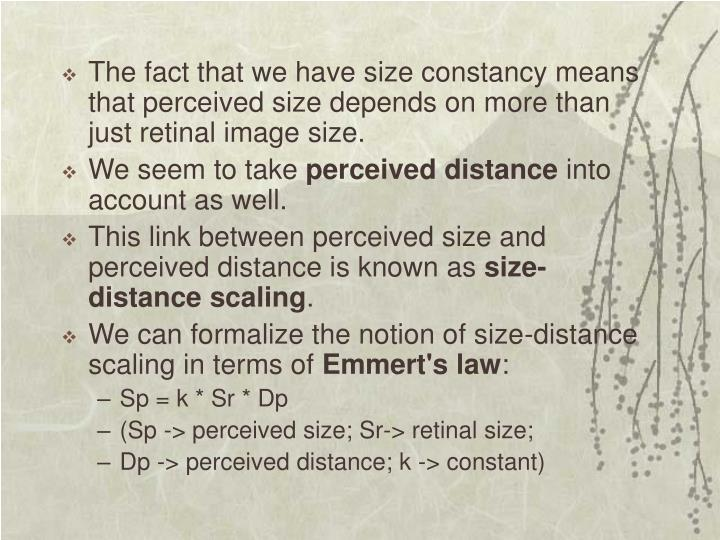 The fact that we have size constancy means that perceived size depends on more than just retinal image size.