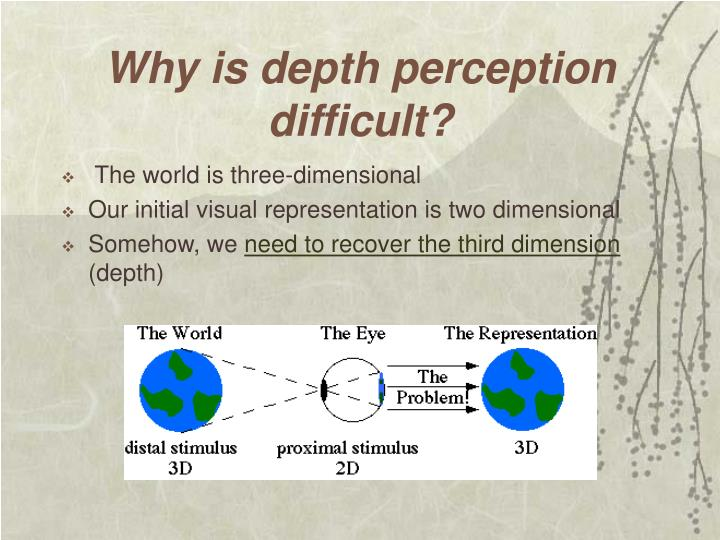 Why is depth perception difficult?