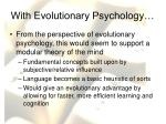 with evolutionary psychology