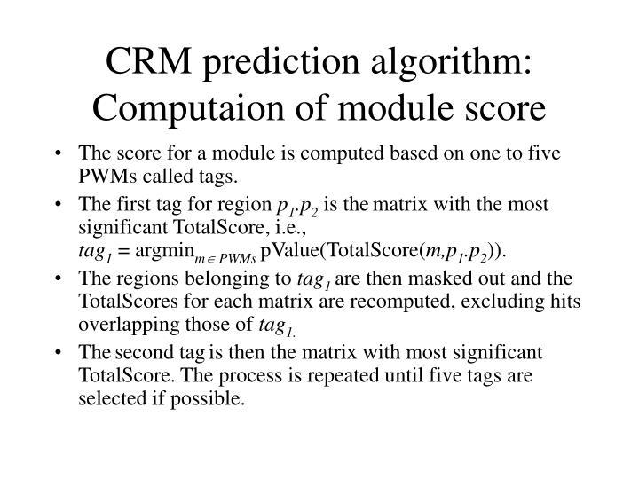 CRM prediction algorithm: Computaion of module score