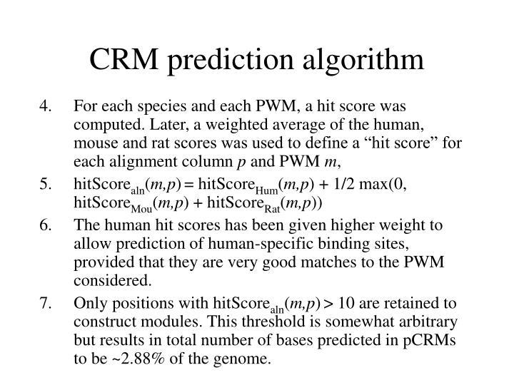 CRM prediction algorithm