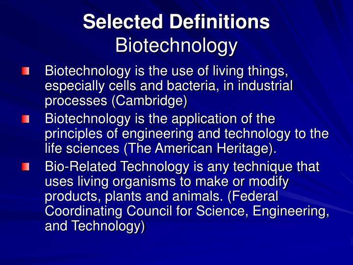 Selected definitions biotechnology