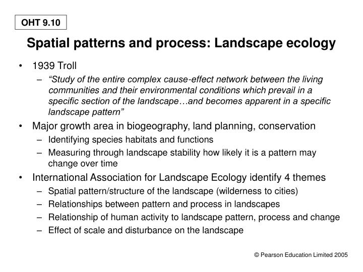 Spatial patterns and process: Landscape ecology