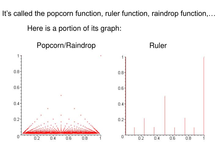 It's called the popcorn function, ruler function, raindrop function,…