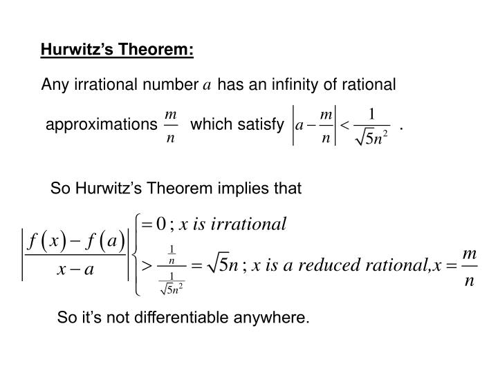 Any irrational number    has an infinity of rational