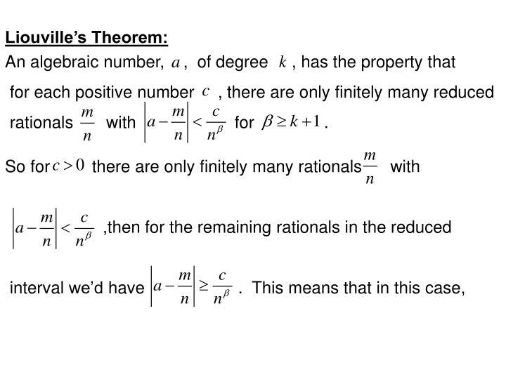 Liouville's Theorem:
