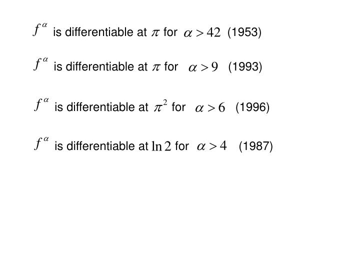 is differentiable at     for               (1953)