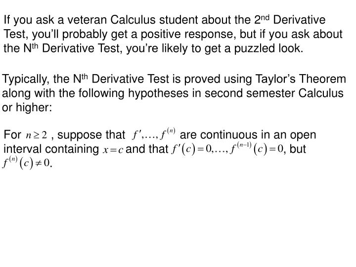 If you ask a veteran Calculus student about the 2