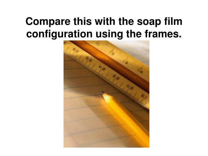 Compare this with the soap film configuration using the frames.