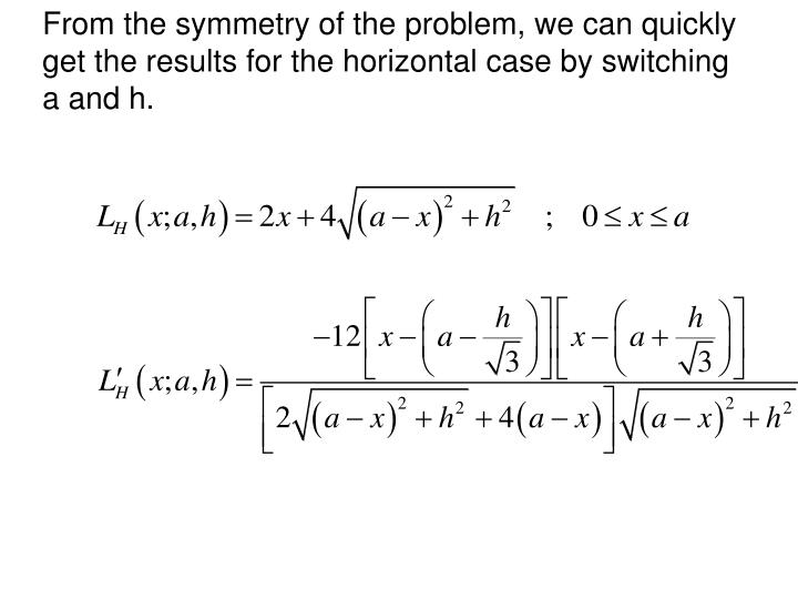 From the symmetry of the problem, we can quickly get the results for the horizontal case by switching a and h.