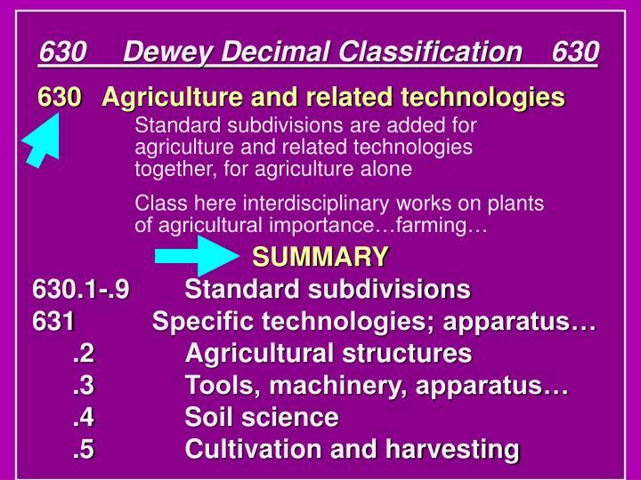 630Dewey Decimal Classification630
