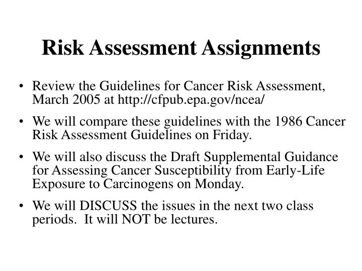 Risk Assessment Assignments