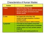 characteristics of human wastes