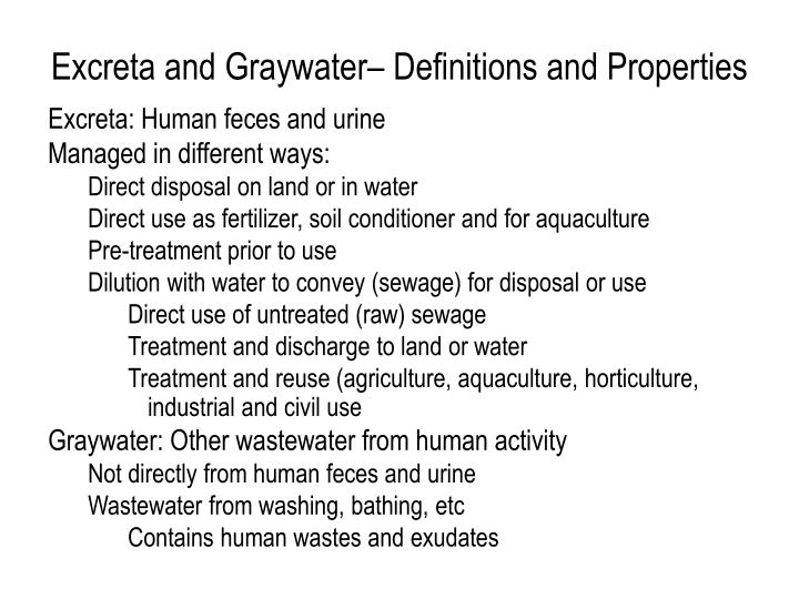 Excreta and graywater definitions and properties