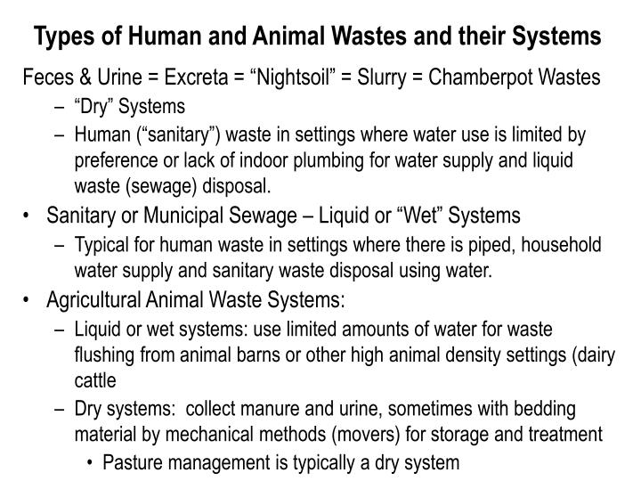 Types of Human and Animal Wastes and their Systems