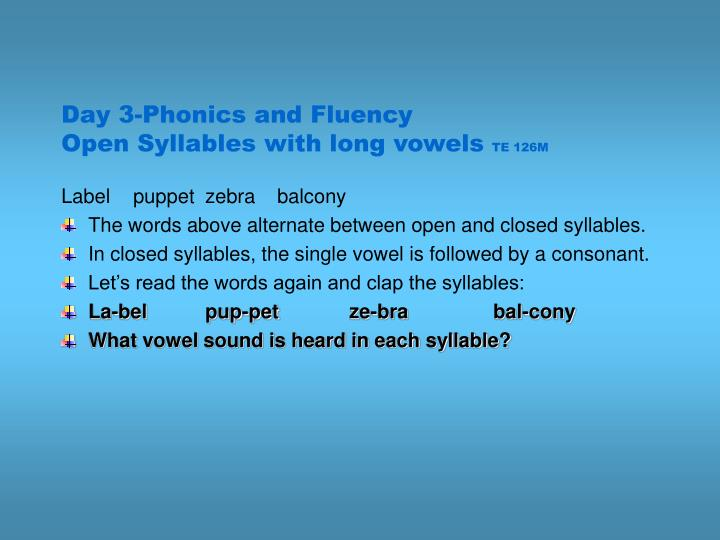 Day 3-Phonics and Fluency