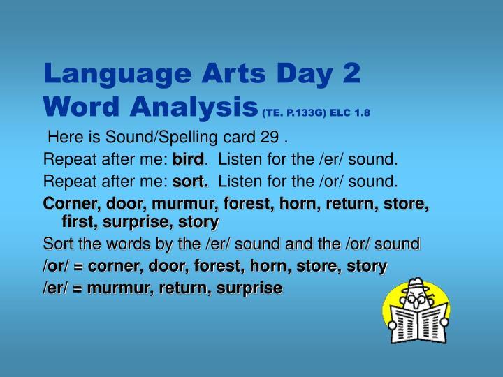 Language Arts Day 2