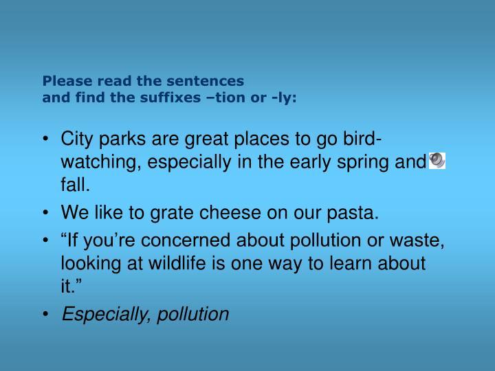Please read the sentences