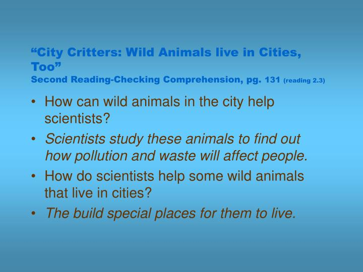"""""""City Critters: Wild Animals live in Cities, Too"""""""