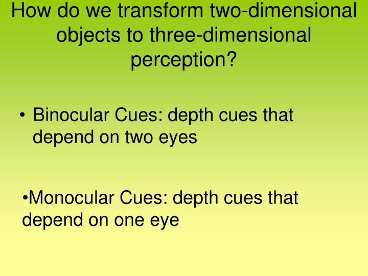 How do we transform two-dimensional objects to three-dimensional perception?
