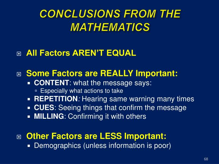 CONCLUSIONS FROM THE MATHEMATICS