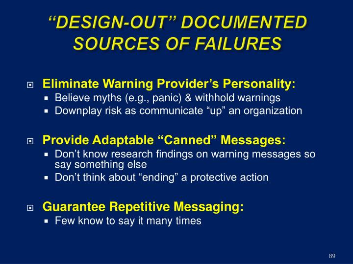 """""""DESIGN-OUT"""" DOCUMENTED SOURCES OF FAILURES"""