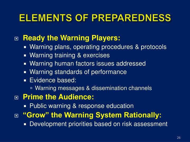 ELEMENTS OF PREPAREDNESS