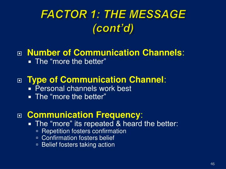 FACTOR 1: THE MESSAGE