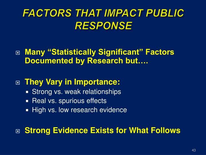 FACTORS THAT IMPACT PUBLIC RESPONSE