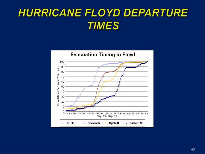 HURRICANE FLOYD DEPARTURE TIMES