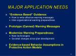 major application needs