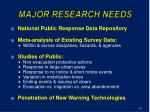 major research needs
