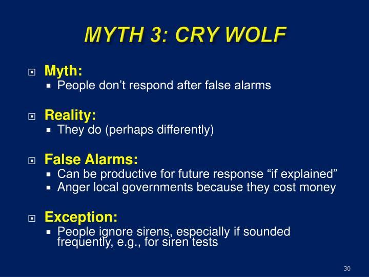 MYTH 3: CRY WOLF