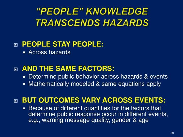 """PEOPLE"" KNOWLEDGE TRANSCENDS HAZARDS"