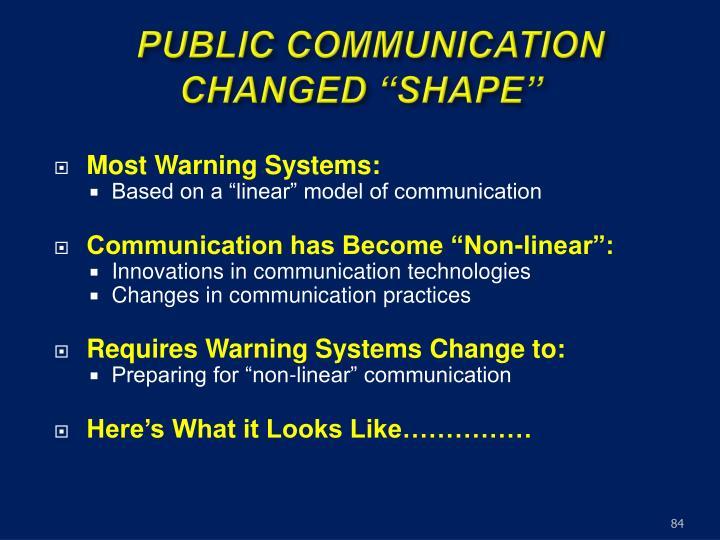 "PUBLIC COMMUNICATION CHANGED ""SHAPE"""