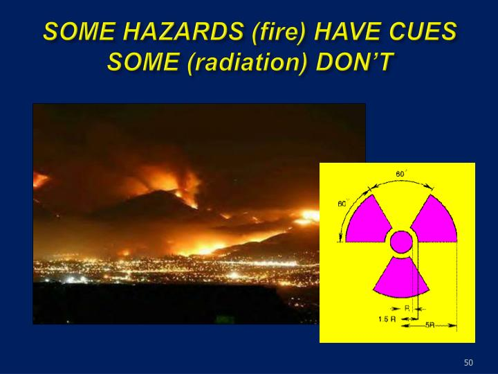 SOME HAZARDS (fire) HAVE CUES SOME (radiation) DON'T