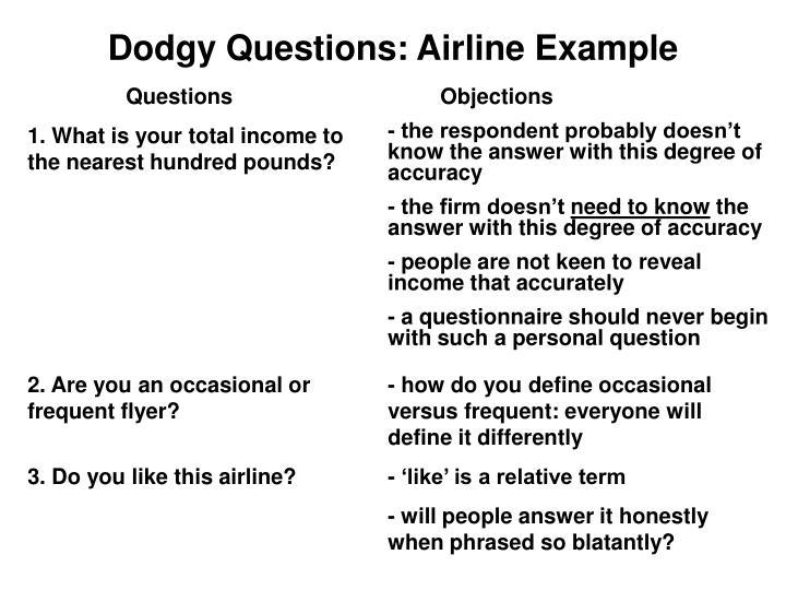Dodgy Questions: Airline Example