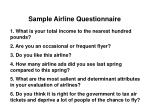 sample airline questionnaire