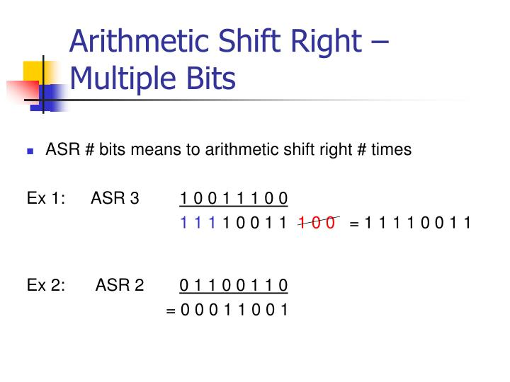 Arithmetic Shift Right – Multiple Bits