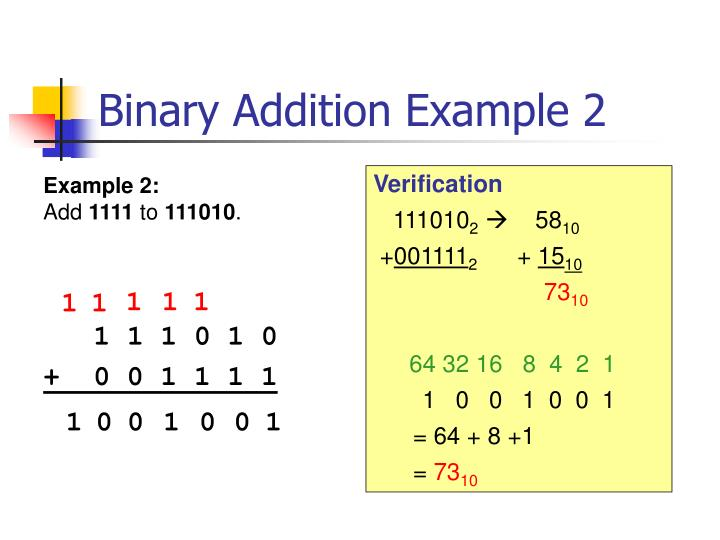 Binary Addition Example 2