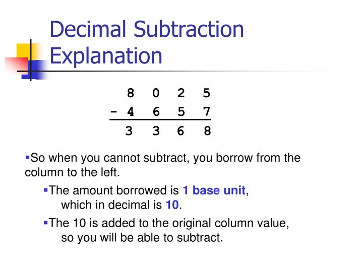 Decimal Subtraction Explanation