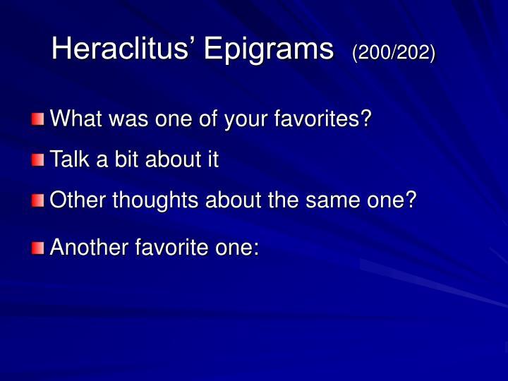Heraclitus' Epigrams