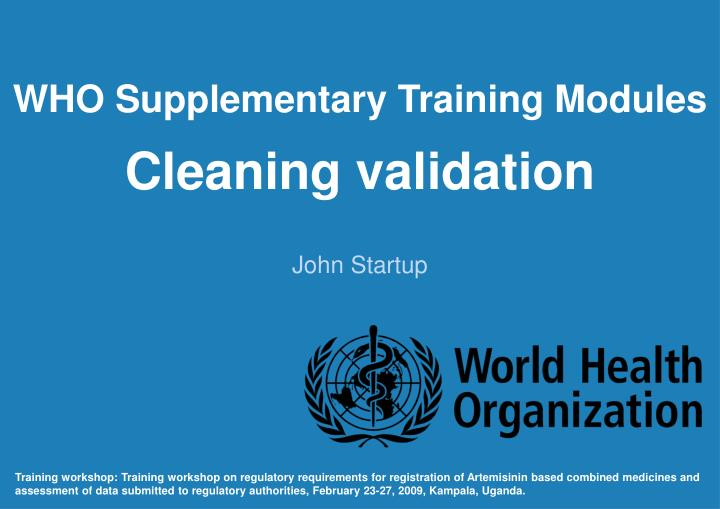 WHO Supplementary Training Modules