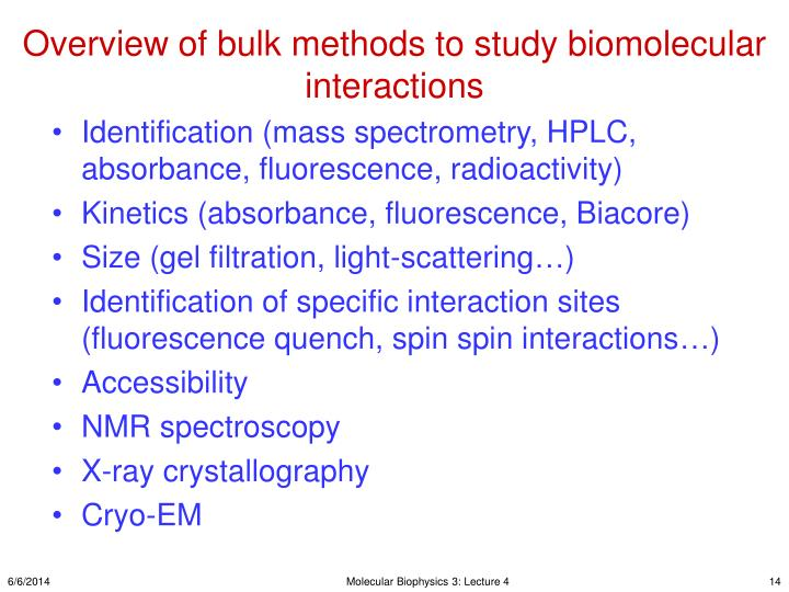 Overview of bulk methods to study biomolecular interactions