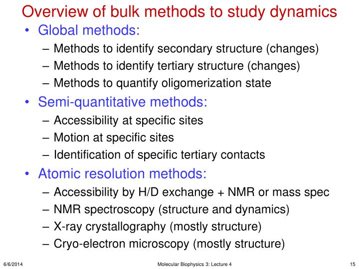 Overview of bulk methods to study dynamics